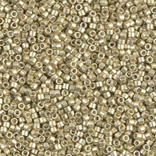 Delica Beads (Miyuki), size 11/0 (same as 12/0), SKU 195006.DB11-1151, galvanized semi-frosted silver, (10gram tube, apprx 1900 beads)