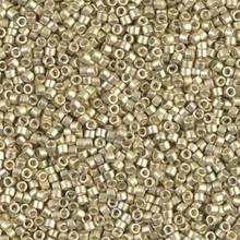 Delica Beads (Miyuki), size 11/0 (same as 12/0), SKU 195006.DB11-1151, galvanized semi-frosted silver, (10gram tube, apprx 1900 beads)