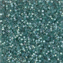 Delica Beads (Miyuki), size 11/0 (same as 12/0), SKU 195006.DB11-1870, silk inside dyed emerald AB, (10gram tube, apprx 1900 beads)