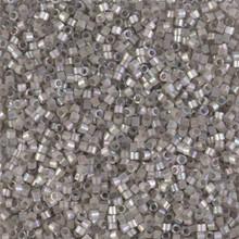 Delica Beads (Miyuki), size 11/0 (same as 12/0), SKU 195006.DB11-1877, silk inside dyed pewter AB, (10gram tube, apprx 1900 beads)