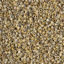 Delica Beads (Miyuki), size 11/0 (same as 12/0), SKU 195006.DB11-2262, opaque yellow picasso, (10gram tube, apprx 1900 beads)