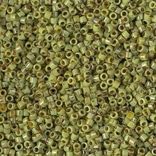 Delica Beads (Miyuki), size 11/0 (same as 12/0), SKU 195006.DB11-2265, opaque chartreuse picasso, (10gram tube, apprx 1900 beads)