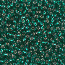 Japanese Miyuki Seed Beads, size 8/0, SKU 189008.MY8-0017, silverlined emerald , (1 26-28 gram tube, apprx 1120 beads)