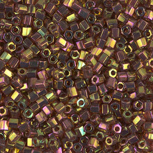 Japanese Miyuki Seed Beads, size 8/0, SKU 189008.MY8-0301cut, dark topaz rainbow gold luster cut , (1 26-28 gram tube, apprx 1120 beads)