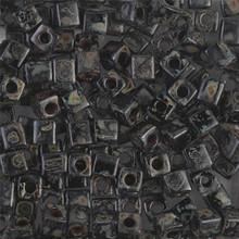 Japanese Miyuki 4x4 Cube Seed Bead. SKU 189004.SB4-4511, black picasso, (1 24-28gr tube, apprx 336 beads, apprx 336 beads)