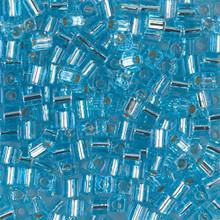 Japanese Miyuki 3x3 Cube Seed Bead, SKU 188003.SB3-0018, silver lined aqua, (1 24-28gr tube, apprx 440 beads)