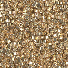 Japanese Miyuki 1.8mm CUBE Beads, SKU 189005.SB18-1052, galvanized gold, (1 tube, apprx 27-28 grams, apprx 2195 beads)