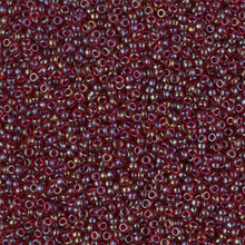 Japanese Miyuki Seed Beads, size 15/0, SKU 189015.MY15-0367, garnet lined ruby AB,  (1 12-13gram tube - apprx 3500 beads)