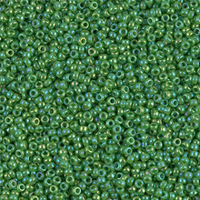 Japanese Miyuki Seed Beads, size 15/0, SKU 189015.MY15-0480, opaque green AB,  (1 12-13gram tube - apprx 3500 beads)