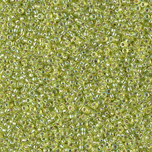 Japanese Miyuki Seed Beads, size 15/0, SKU 189015.MY15-1014, silverlined chartreuse AB,  (1 12-13gram tube - apprx 3500 beads)