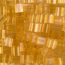 Miyuki Tila Beads, 5x5x1.9mm, 2-parallel 0.8mm holes, SKU 501000.TL-0132, transparent light topaz, 9.5 gram tube, apprx  104 beads, (1 tube)