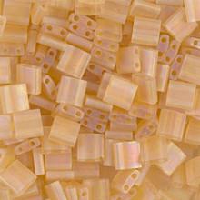Miyuki Tila Beads, 5x5x1.9mm, 2-parallel 0.8mm holes, SKU 501000.TL-0132FR, transparent light topaz AB, 9.5 gram tube, apprx  104 beads, (1 tube)