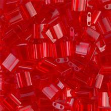Miyuki Tila Beads, 5x5x1.9mm, 2-parallel 0.8mm holes, SKU 501000.TL-0140, transparent red orange, 9.5 gram tube, apprx  104 beads, (1 tube)