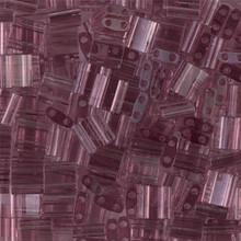 Miyuki Tila Beads, 5x5x1.9mm, 2-parallel 0.8mm holes, SKU 501000.TL-0142, transparent smoky amethyst, 9.5 gram tube, apprx  104 beads, (1 tube)