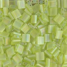 Miyuki Tila Beads, 5x5x1.9mm, 2-parallel 0.8mm holes, SKU 501000.TL-0143FR, matte transparent chartreuse AB, 9.5 gram tube, apprx  104 beads, (1 tube)