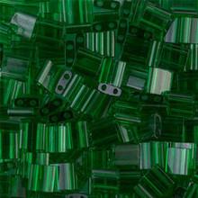Miyuki Tila Beads, 5x5x1.9mm, 2-parallel 0.8mm holes, SKU 501000.TL-0146, transparent green, 9.5 gram tube, apprx  104 beads, (1 tube)