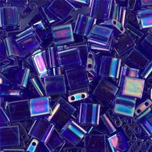 Miyuki Tila Beads, 5x5x1.9mm, 2-parallel 0.8mm holes, SKU 501000.TL-0177, transparent cobalt AB, 9.5 gram tube, apprx  104 beads, (1 tube)