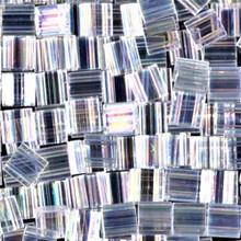 Miyuki Tila Beads, 5x5x1.9mm, 2-parallel 0.8mm holes, SKU 501000.TL-0250, crystal AB, 9.5 gram tube, apprx  104 beads, (1 tube)