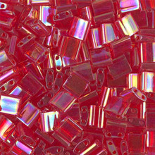 Miyuki Tila Beads, 5x5x1.9mm, 2-parallel 0.8mm holes, SKU 501000.TL-0254, transparent red AB, 9.5 gram tube, apprx  104 beads, (1 tube)