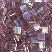 Miyuki Tila Beads, 5x5x1.9mm, 2-parallel 0.8mm holes, SKU 501000.TL-0256, transparent smoky amethyst AB, 9.5 gram tube, apprx  104 beads, (1 tube)