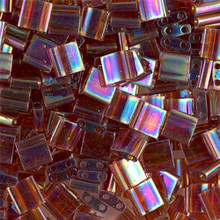 Miyuki Tila Beads, 5x5x1.9mm, 2-parallel 0.8mm holes, SKU 501000.TL-0257, transparent topaz AB, 9.5 gram tube, apprx  104 beads, (1 tube)