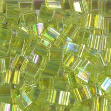 Miyuki Tila Beads, 5x5x1.9mm, 2-parallel 0.8mm holes, SKU 501000.TL-0258, transparent chartreuse AB, 9.5 gram tube, apprx  104 beads, (1 tube)