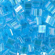 Miyuki Tila Beads, 5x5x1.9mm, 2-parallel 0.8mm holes, SKU 501000.TL-0260, transparent aqua AB, 9.5 gram tube, apprx  104 beads, (1 tube)