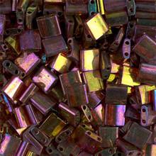 Miyuki Tila Beads, 5x5x1.9mm, 2-parallel 0.8mm holes, SKU 501000.TL-0301, dark topaz rainbow gold luster, 9.5 gram tube, apprx  104 beads, (1 tube)