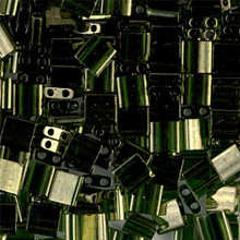 Miyuki Tila Beads, 5x5x1.9mm, 2-parallel 0.8mm holes, SKU 501000.TL-0306, olive gold luster, 9.5 gram tube, apprx  104 beads, (1 tube)