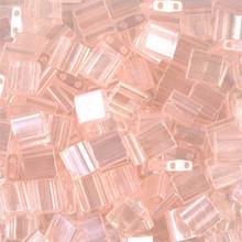 Miyuki Tila Beads, 5x5x1.9mm, 2-parallel 0.8mm holes, SKU 501000.TL-0365, light shell pink luster, 9.5 gram tube, apprx  104 beads, (1 tube)