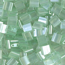 Miyuki Tila Beads, 5x5x1.9mm, 2-parallel 0.8mm holes, SKU 501000.TL-0370, sea foam luster, 9.5 gram tube, apprx  104 beads, (1 tube)