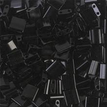Miyuki Tila Beads, 5x5x1.9mm, 2-parallel 0.8mm holes, SKU 501000.TL-0401, black, 9.5 gram tube, apprx  104 beads, (1 tube)