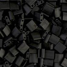 Miyuki Tila Beads, 5x5x1.9mm, 2-parallel 0.8mm holes, SKU 501000.TL-0401F, matte black, 9.5 gram tube, apprx  104 beads, (1 tube)