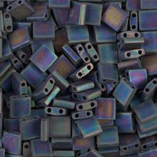 Miyuki Tila Beads, 5x5x1.9mm, 2-parallel 0.8mm holes, SKU 501000.TL-0401FR, matte black AB, 9.5 gram tube, apprx  104 beads, (1 tube)