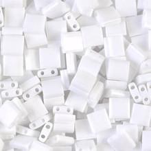 Miyuki Tila Beads, 5x5x1.9mm, 2-parallel 0.8mm holes, SKU 501000.TL-0402, white, 9.5 gram tube, apprx  104 beads, (1 tube)