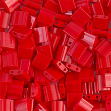 Miyuki Tila Beads, 5x5x1.9mm, 2-parallel 0.8mm holes, SKU 501000.TL-0408, opaque red, 9.5 gram tube, apprx  104 beads, (1 tube)
