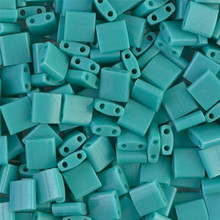 Miyuki Tila Beads, 5x5x1.9mm, 2-parallel 0.8mm holes, SKU 501000.TL-0412, opaque turquoise green, 9.5 gram tube, apprx  104 beads, (1 tube)