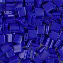 Miyuki Tila Beads, 5x5x1.9mm, 2-parallel 0.8mm holes, SKU 501000.TL-0414, opaque cobalt, 9.5 gram tube, apprx  104 beads, (1 tube)