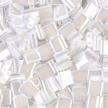 Miyuki Tila Beads, 5x5x1.9mm, 2-parallel 0.8mm holes, SKU 501000.TL-0420, white pearl ceylon, 9.5 gram tube, apprx  104 beads, (1 tube)