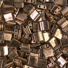 Miyuki Tila Beads, 5x5x1.9mm, 2-parallel 0.8mm holes, SKU 501000.TL-0457, metallic dark bronze, 9.5 gram tube, apprx  104 beads, (1 tube)