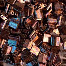 Miyuki Tila Beads, 5x5x1.9mm, 2-parallel 0.8mm holes, SKU 501000.TL-0457B, metallic dark raspberry iris, 9.5 gram tube, apprx  104 beads, (1 tube)