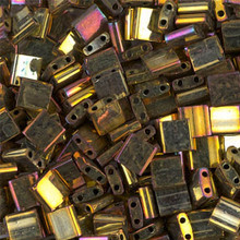 Miyuki Tila Beads, 5x5x1.9mm, 2-parallel 0.8mm holes, SKU 501000.TL-0462, metallic gold iris, 9.5 gram tube, apprx  104 beads, (1 tube)