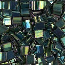 Miyuki Tila Beads, 5x5x1.9mm, 2-parallel 0.8mm holes, SKU 501000.TL-0468, metallic malachite green iris, 9.5 gram tube, apprx  104 beads, (1 tube)