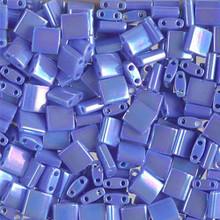 Miyuki Tila Beads, 5x5x1.9mm, 2-parallel 0.8mm holes, SKU 501000.TL-0483, opaque periwinkle AB, 9.5 gram tube, apprx  104 beads, (1 tube)