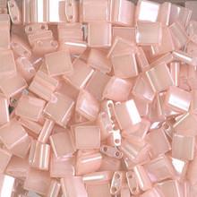 Miyuki Tila Beads, 5x5x1.9mm, 2-parallel 0.8mm holes, SKU 501000.TL-0519, pink pearl ceylon, 9.5 gram tube, apprx  104 beads, (1 tube)