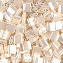 Miyuki Tila Beads, 5x5x1.9mm, 2-parallel 0.8mm holes, SKU 501000.TL-0592, antique ivory pearl ceylon, 9.5 gram tube, apprx  104 beads, (1 tube)