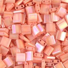 Miyuki Tila Beads, 5x5x1.9mm, 2-parallel 0.8mm holes, SKU 501000.TL-0596, opaque tea rose luster, 9.5 gram tube, apprx  104 beads, (1 tube)