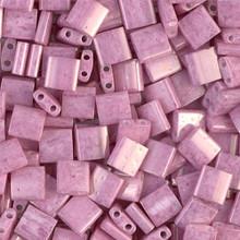 Miyuki Tila Beads, 5x5x1.9mm, 2-parallel 0.8mm holes, SKU 501000.TL-0599, opaque antique rose luster, 9.5 gram tube, apprx  104 beads, (1 tube)