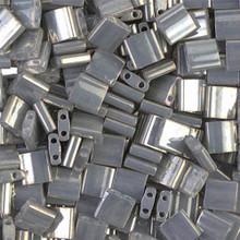 Miyuki Tila Beads, 5x5x1.9mm, 2-parallel 0.8mm holes, SKU 501000.TL-1865, opaque smoke gray luster, 9.5 gram tube, apprx  104 beads, (1 tube)