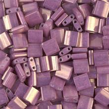 Miyuki Tila Beads, 5x5x1.9mm, 2-parallel 0.8mm holes, SKU 501000.TL-1867, opaque dark orchid luster, 9.5 gram tube, apprx  104 beads, (1 tube)